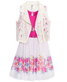 Beautees 2-Pc. Lace Vest & Floral-Print Dress Set, Big Girls