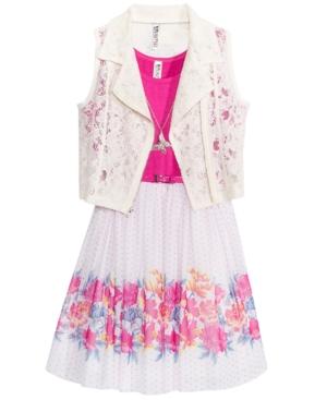 Beautees 2Pc Lace Vest  FloralPrint Dress Set Big Girls