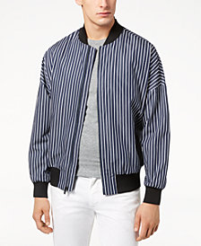 Calvin Klein Men's Oversized Striped Bomber Jacket