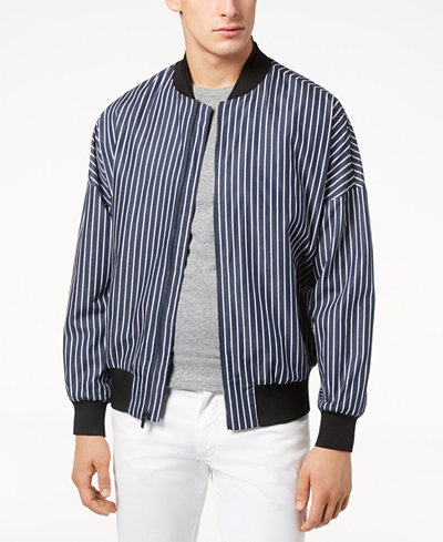 Calvin Klein Men's Oversized Striped Bomber Jacket