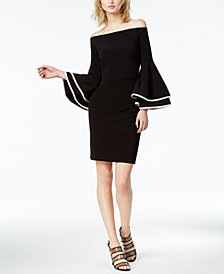 Bar III Off-The-Shoulder Bell-Sleeve Dress, Created for Macy's