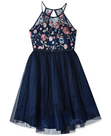 Rare Editions Embroidered High-Low Hem Dress, Big Girls