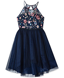 Rare Editions Embroidered High-Low Hem Dress, Big Girls Plus