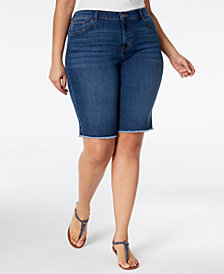 Style & Co Plus Size Frayed-Hem Denim Bermuda Shorts, Created for Macy's