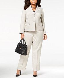 Le Suit Plus Size Herringbone Pinstripe Pantsuit