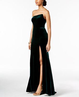 Betsy Adam Strapless Velvet Slit Gown Dresses Women Macys