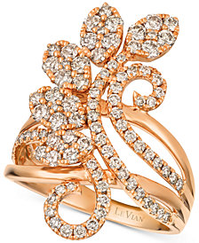 Le Vian Strawberry & Nude™ Diamond Flower Cluster Statement Ring (1-3/8 ct. t.w.) in 14k Rose Gold