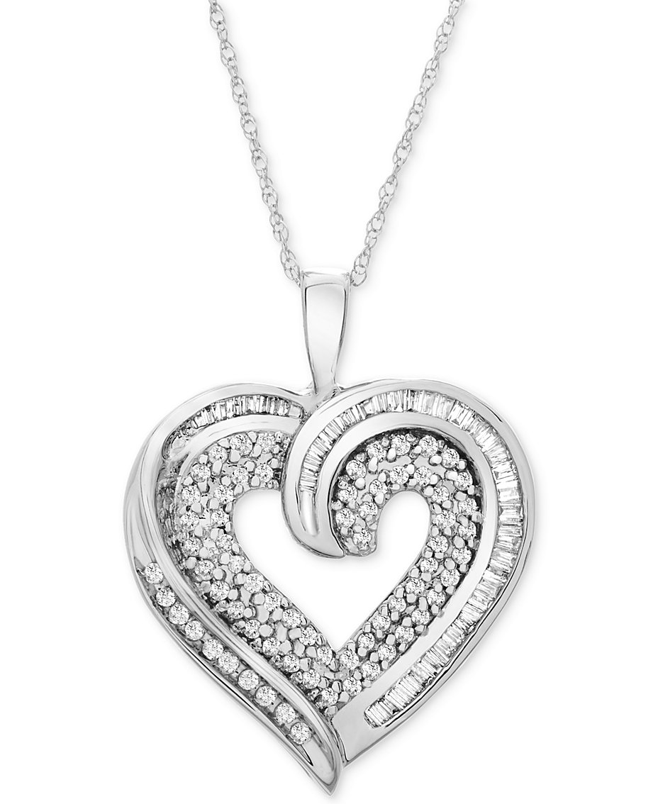 Gold heart necklace shop gold heart necklace macys diamond baguette heart necklace in 10k gold or white gold 38 ct aloadofball Image collections