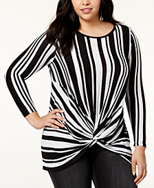 I.N.C. Plus Size Twist-Front Tunic, Created for Macy's