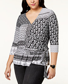 I.N.C. Plus Size Mixed-Print Surplice Tie-Front Top, Created for Macy's
