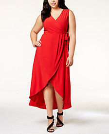 I.N.C. Plus Size Faux-Wrap Maxi Dress, Created for Macy's