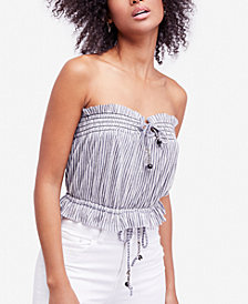 Free People Peppermint Striped Strapless Top