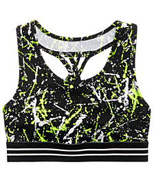 Ideology Splatter-Print Sports Bra, Big Girls, Created for Macy's