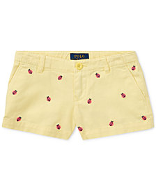 Ralph Lauren Ladybug Chino Cotton Shorts, Little Girls