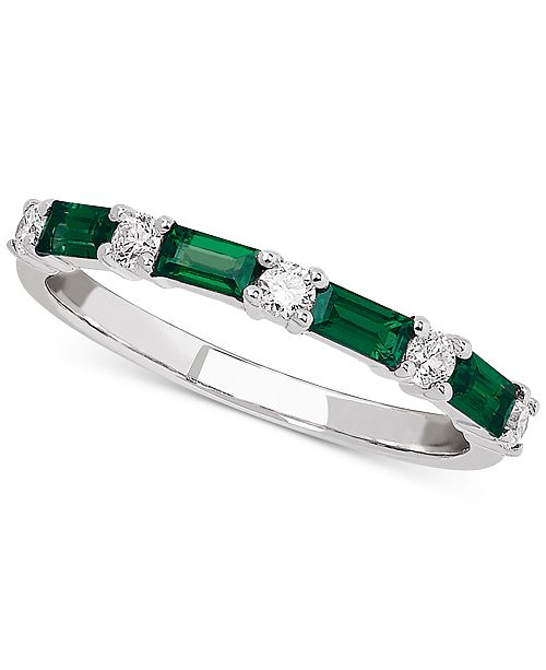 Macy's Emerald (5/8 ct. t.w.) & Diamond (1/5 ct. t.w.) Band in 14k White Gold