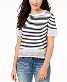 One Hart Juniors' Striped Lace-Trimmed Cropped T-Shirt, Created for Macy's