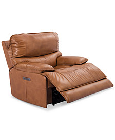 CLOSEOUT! Woodyn Leather Power Recliner With Power Headrest, Lumbar And USB Power Outlet