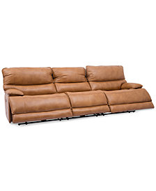 "CLOSEOUT! Woodyn 122"" 3-Pc. Leather Power Reclining Sofa With 3 Power Recliners, Power Headrests, Lumbar And USB Power Outlet"