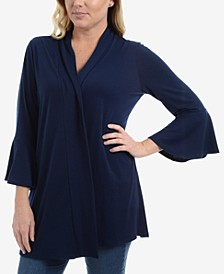Bell-Sleeve Open-Front Cardigan