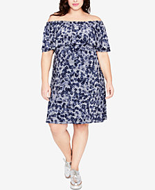 RACHEL Rachel Roy Trendy Plus Size Off-The-Shoulder Knit Dress