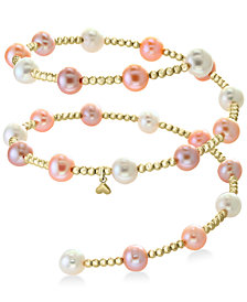 EFFY® White Cultured Freshwater Pearl (7mm) Coil Bracelet in 14k Gold (also in Multicolor Cultured Freshwater Pearl)