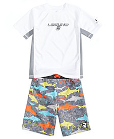 Laguna Colorblocked Rash Guard & Shark-Print Swim Trunks, Toddler & Little Boys