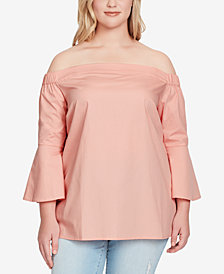 Jessica Simpson Trendy Plus Size Off-The-Shoulder Top