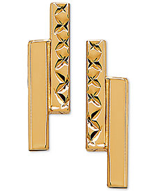 Polished Double Bar Stud Earrings in 10k Gold