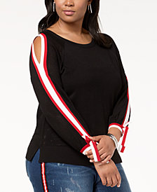 I.N.C. Plus Size Stripe-Trim Cold-Shoulder Top, Created for Macy's