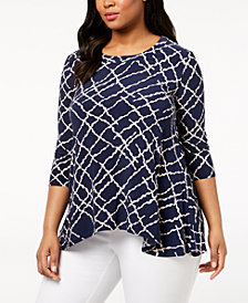 Anne Klein Plus Size High-Low Top