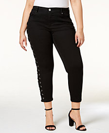 I.N.C. Plus Size Lace-Up Skinny Jeans, Created for Macy's