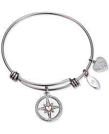 "Unwritten ""Follow your Inner Compass"" Crystal Compass Charm Adjustable Bangle Bracelet in Stainless Steel"