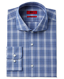 HUGO Men's Slim-Fit Navy Check Dress Shirt