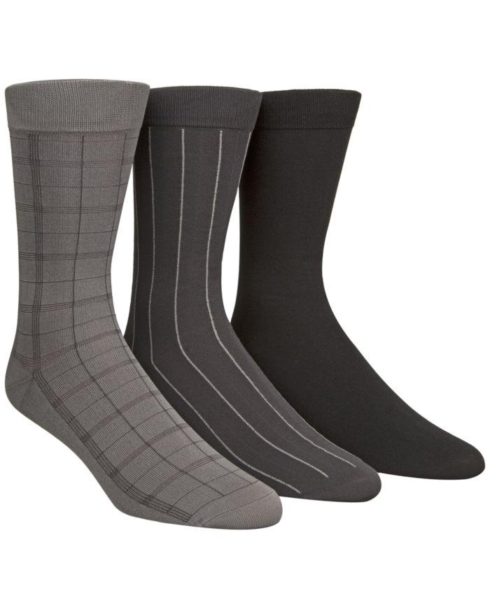 Calvin Klein Microfiber Windowpane 3-Pack Dress Socks & Reviews - Underwear & Socks - Men - Macy's