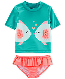 Carter's 2-Pc. Graphic-Print Rash Guard Set, Baby Girls