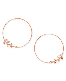 Essentials Large Silver Plated Vine Endless Wire Hoop Earrings