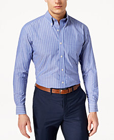 Club Room Men's Classic/Regular Fit Stretch Fine Double Stripe Dress Shirt, Created for Macy's
