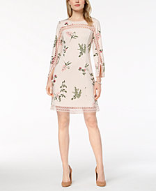 Alfani Petite Printed Illusion-Trim Shift Dress, Created for Macy's