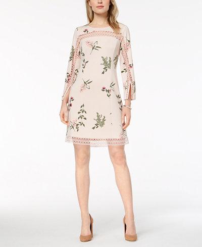 Alfani Petite Printed Illusion-Trim Shift Dress, Created for Macy's