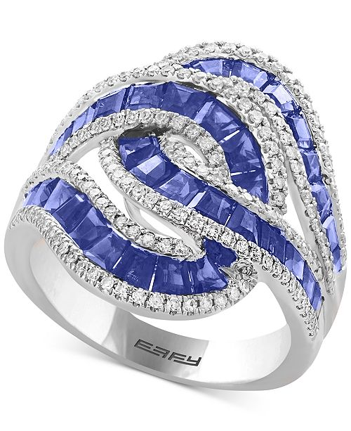 EFFY Collection EFFY® Amoré Sapphire (3-1/2 ct. t.w.) & Diamond (1/2 ct. t.w.) Ring in 14k White Gold