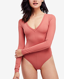 Free People Super-Soft Deep-V-Neck Bodysuit
