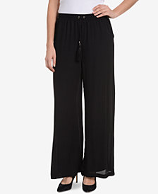 NY Collection Chiffon-Overlay Pants