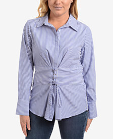 NY Collection Lace-Up Striped Blouse