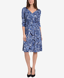 NY Collection Printed Ruched-Front Fit & Flare Dress