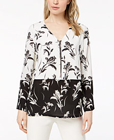 Alfani Petite Colorblocked Printed Zip Top, Created for Macy's