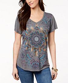 Style & Co Cutout Graphic T-Shirt, Created for Macy's
