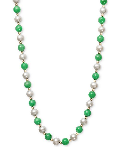 Macy's Cultured Freshwater Pearl and Jade Necklace in 14k Gold