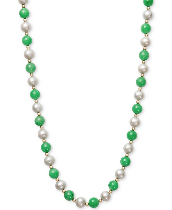 Macy's - 14k Gold Necklace, Cultured Freshwater Pearl and Jade