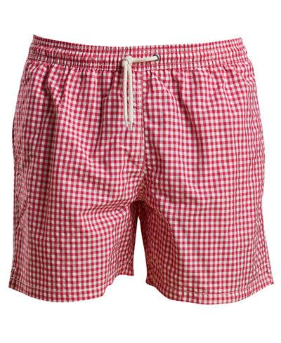 Barbour Men's Tailored-Fit Gingham Swim Trunks