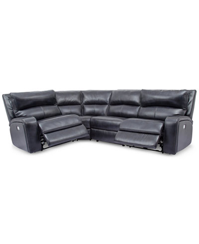 Brant 4-Pc. Leather Sectional Sofa With 2 Power Recliners, Power Headrests And USB Power Outlet